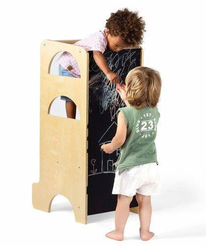 Climbing Play Tower With Chalkboard And Slide