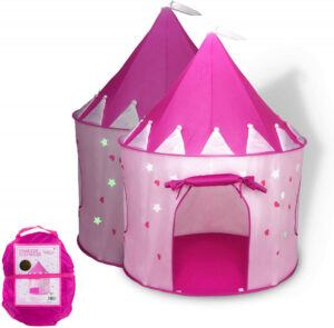 FoxPrint Princess Castle Glow In The Dark Foldable Pop-Up Play Tent