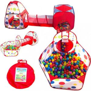 Playz Kids Tent Crawl Tunnel And Ball Pit With Basketball Hoop Playhouse